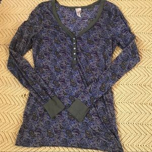 Sheer, long sleeve paisley floral top